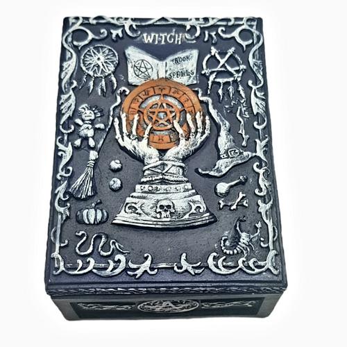 Fortune Teller Witch Jewellery / Tarot Card Box Resin 13.5cm