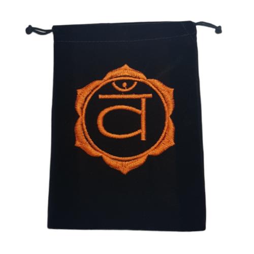 Chakra Velveteen Drawstring Tarot Bag Sacral Orange 18cm