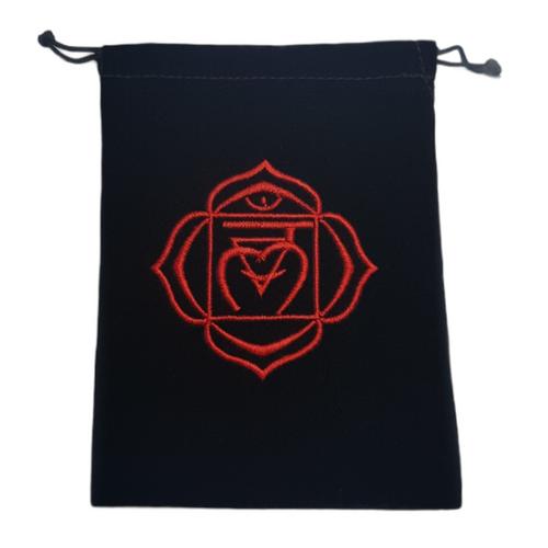 Chakra Velveteen Drawstring Tarot Bag Root Red 18cm