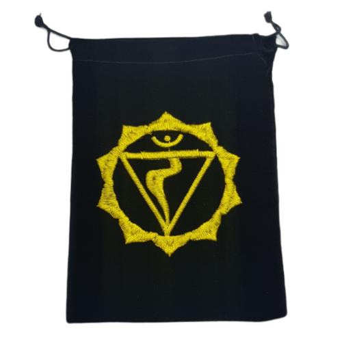Chakra Velveteen Drawstring Tarot Bag Solar Plexus Yellow 18cm