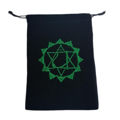 Chakra Velveteen Drawstring Tarot Bag Heart Green 18cm