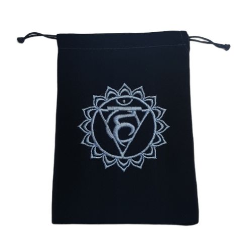 Chakra Velveteen Drawstring Tarot Bag Throat Light Blue 18cm