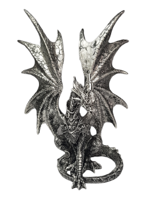 Dragon Statue Posing ~ Silver Resin 22cm