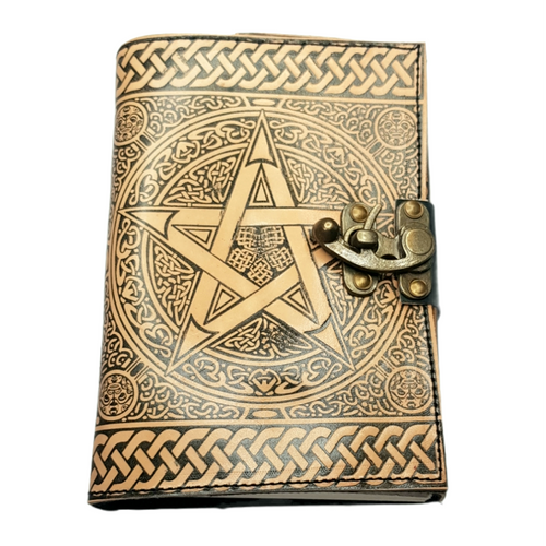 Leather Journal Tan Pentagram with Clasp Lock Handmade Parchment - 120 Pages - 12cm x 17.5cm