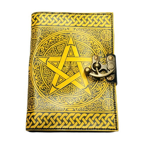 Leather Journal Yellow Pentagram with Clasp Lock Handmade Parchment - 120 Pages - 12cm x 17.5cm