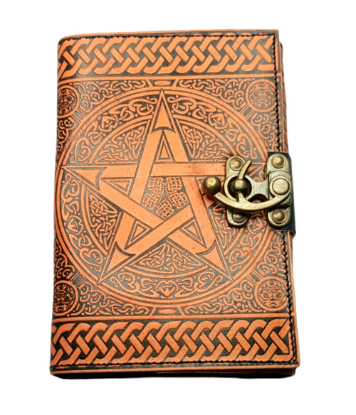 Leather Journal Orange Pentagram with Clasp Lock Handmade Parchment - 120 Pages - 12cm x 17.5cm
