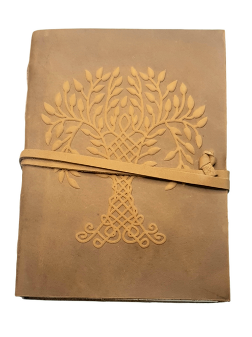 Leather Journal Embossed Tree of Life with  Wrap Closure ~ Handmade Parchment - 120 Pages - 13cm x 17.5cm