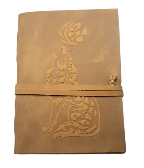 Leather Journal Embossed Wolf Crescent Moon with  Wrap Closure ~ Handmade Parchment - 120 Pages - 13cm x 17.5cm