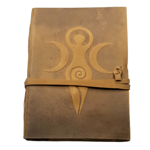 Leather Journal Embossed Triple Moon Spiral Goddess with  Wrap Closure ~ Handmade Parchment - 120 Pages - 13cm x 17.5cm