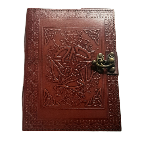 Leather Journal Pentagram  Classic with Clasp Lock Handmade Parchment - 120 Pages - 13cm x 17.5cm