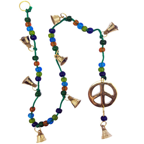 Peace Symbol Brass on Beaded Cord Bell Wind Chime 70cm