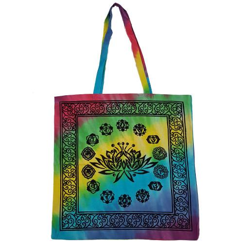 Chakra Lotus Tie Dye Cotton Tote Bag
