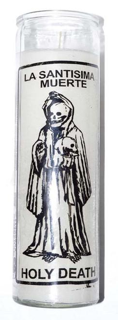 Holy Death (Santa Muerte) Novena Candle Glass Jar White 20cm