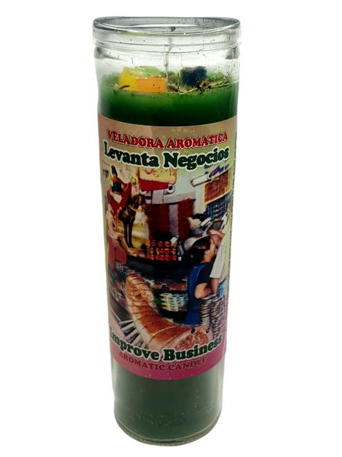 Improve Business (Levanta Negocios) Green Aromatic Novena Candle Glass Jar 20cm