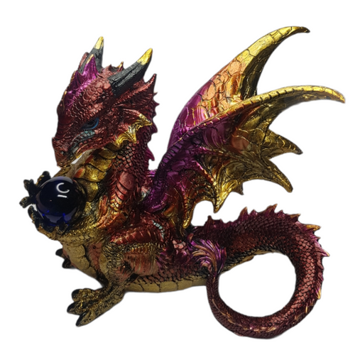 Dragon Statue Guarding Blue Orb Gold - 20cm