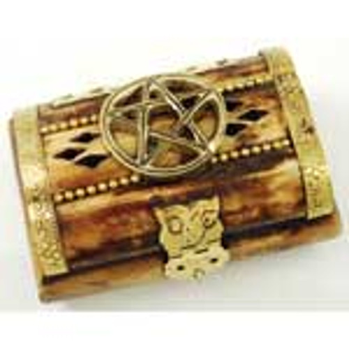 Pentacle Bone Chest Mini Trinket Box 7cm