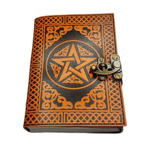 Leather Journal Orange Pentagram with Clasp Lock Handmade Parchment 2 - 120 Pages - 12cm x 17.5cm