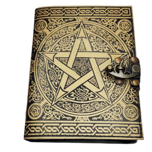 Leather Journal Gold Pentagram with Clasp Lock Handmade Parchment - 120 Pages - 12cm x 17.5cm