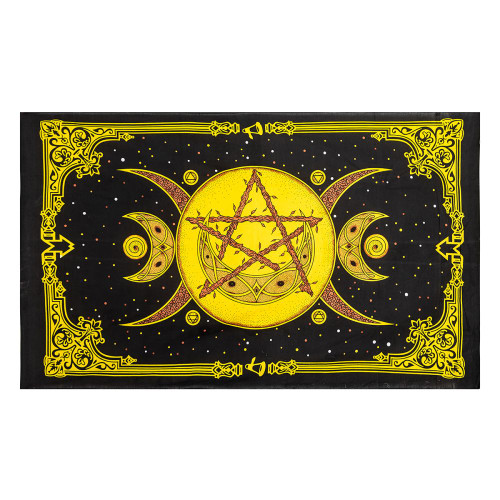 Triple Moon Pentacle Tapestry Yellow 210cm x 140cm 100% Cotton