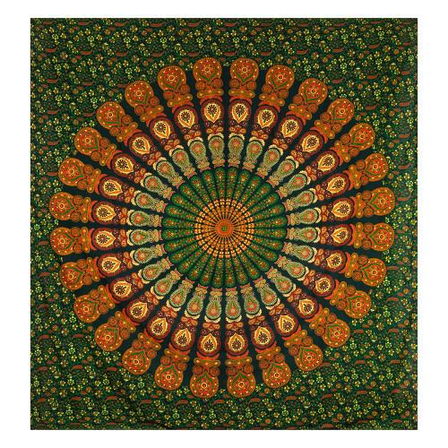 Tapestry Peacock Mandala Green Red 210cm x 240cm 100% Cotton