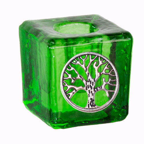 Chime Wish Candle Holder Glass Green Tree 3cm x 3cm