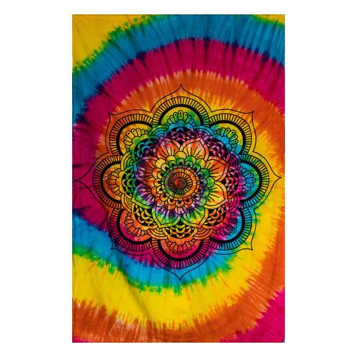 Tapestry Lotus Mandala Tie Dye 140cm x 210cm 100% Cotton
