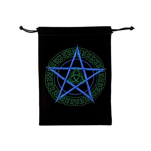 Celtic Pentacle Triquetra Velveteen Drawstring Tarot Bag 17cm