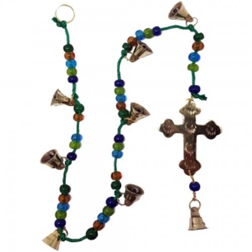 Brass on Beaded Cord Bell Wind Chime Cross Symbol 70cm