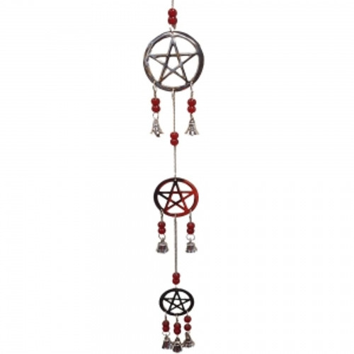 Pentacle Chrome Wind Chime Long 60cm Red Beads