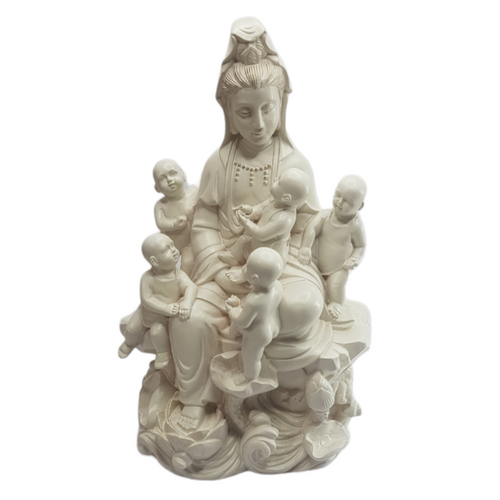 Quan Yin Resin Statue with Five Children ~ 25cm