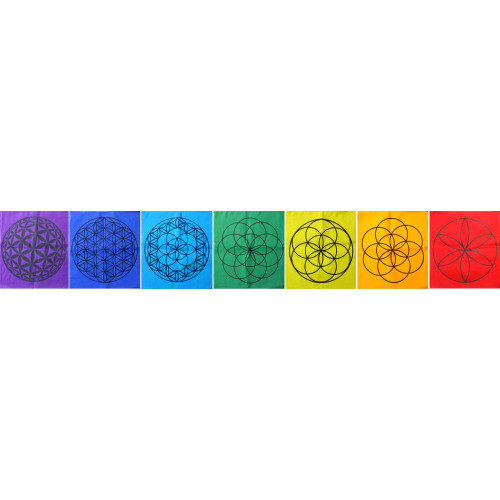 Chakra Flower of Life Sacred Geometry Prayer Flag Large 25cm x 20cm