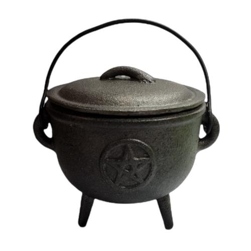Cast Iron Cauldron Black with Lid / Handle Pentacle 11cm