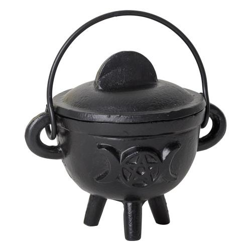 Black Cast Iron Cauldron Small Triple Moon / Pentacle Moon with Lid 8cm