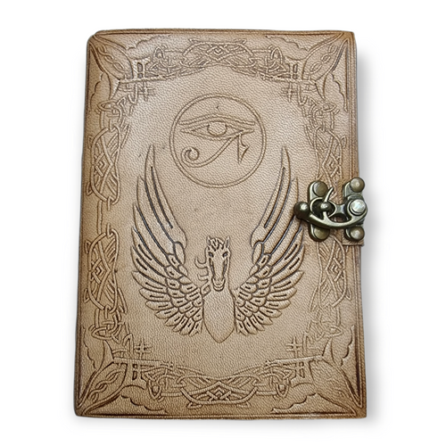 Leather Journal Hand Tooled Eye of Horus with Latch Closure ~ Handmade Parchment - 100 Pages - 12cm x 17cm