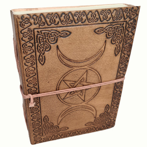 Leather Journal Hand Tooled Triple Moon with Cord Closure ~ Handmade Parchment - 120 Pages - 12cm x 17cm
