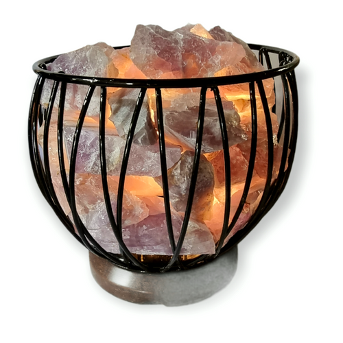 Amethyst Crystal Cage Lamp with Electrical Cord