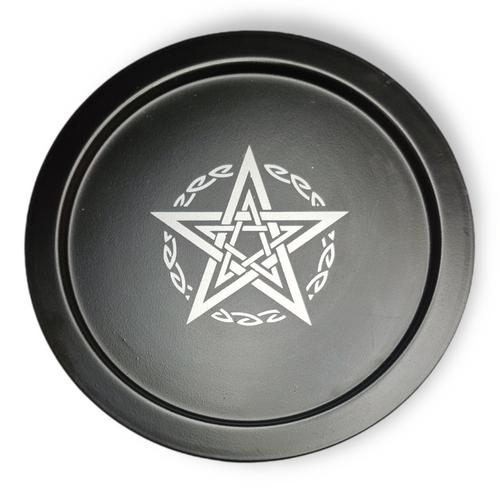Metal Offering Plate Black Pentacle 22cm SECONDS