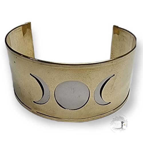 Triple Moon Brass Cuff Bracelet 3.5cm