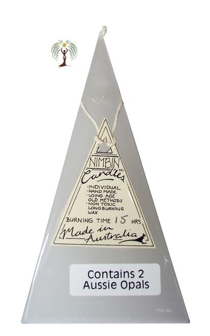 Hand Made Opal Lights Pyramid Candle