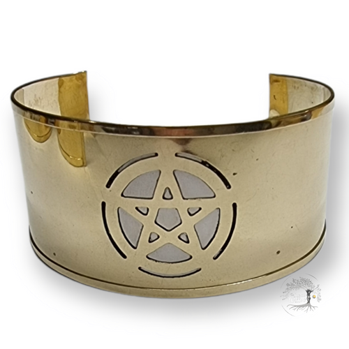 Pentacle Brass Cuff Bracelet 3.5cm