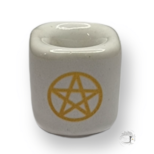 Chime Wish Candle Holder Ceramic White Pentacle 26mm