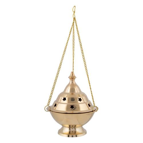 Hanging Brass Incense Burner Censer Stars Large 11cm