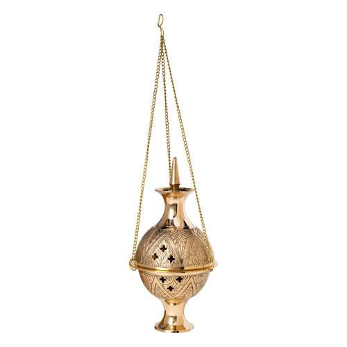 Hanging Brass Incense Burner Censer Stars Floral Engraved 17cm