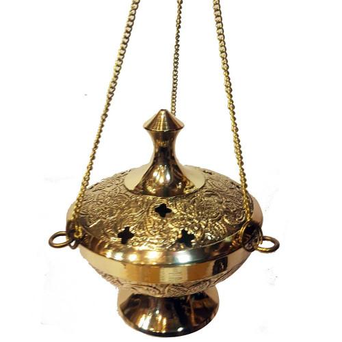 Hanging Brass Incense Burner Censer Floral Engraved Small 17cm