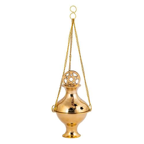 Hanging Brass Incense Burner Censer Pentacle Stars Small 11.5cm