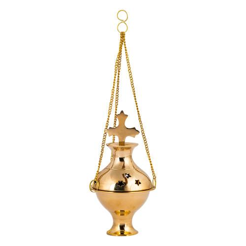 Hanging Brass Incense Burner Censer Cross Stars Small 12cm