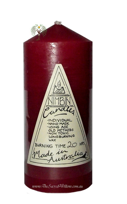 Red Hand Made Church Pillar Candle