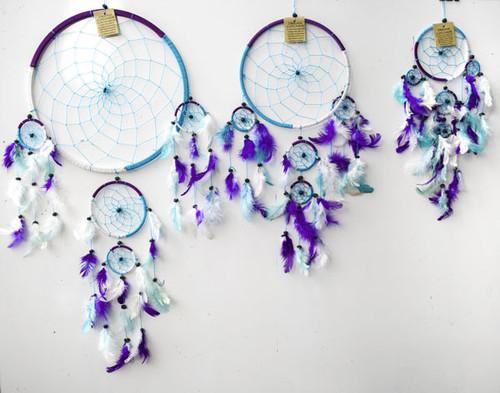 3 Tone Blue, White & Purple Dream Catcher Medium