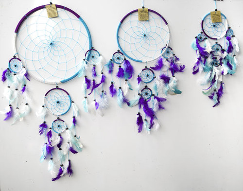 3 Tone Blue, White & Purple Dream Catcher Small