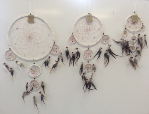 White Suede with Crystals Dream Catcher Medium